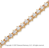 14k Yellow Gold Flower 2.20 Carat Diamond Tennis Bracelet