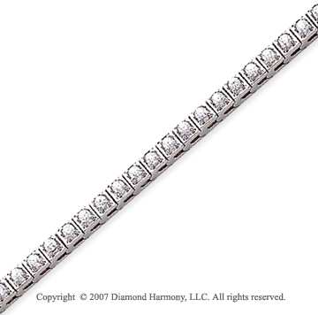 14k White Gold Box 1.80 Carat Diamond Tennis Bracelet