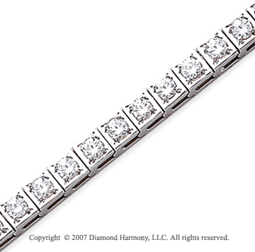 14k White Gold Box 5.10 Carat Diamond Tennis Bracelet
