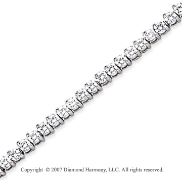 14k White Gold Tilt 3.90 Carat Diamond Tennis Bracelet