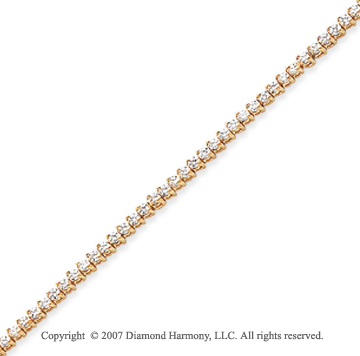 14k Yellow Gold Tilt 2.00 Carat Diamond Tennis Bracelet