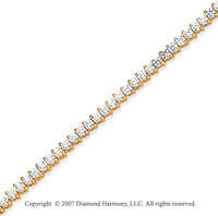 14k Yellow Gold Tilt 2.95 Carat Diamond Tennis Bracelet