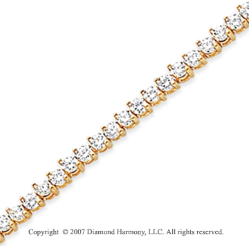 14k Yellow Gold Tilt 3.90 Carat Diamond Tennis Bracelet