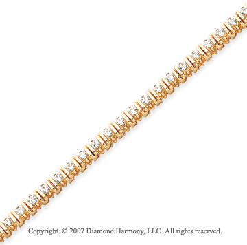 14k Yellow Gold Bar Link 1.95 Carat Diamond Tennis Bracelet