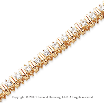 14k Yellow Gold Bar Link 2.80 Carat Diamond Tennis Bracelet