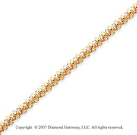 14k Yellow Gold Rounded 1.15 Carat Diamond Tennis Bracelet
