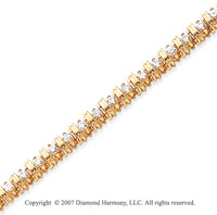14k Yellow Gold Rounded 2.00 Carat Diamond Tennis Bracelet