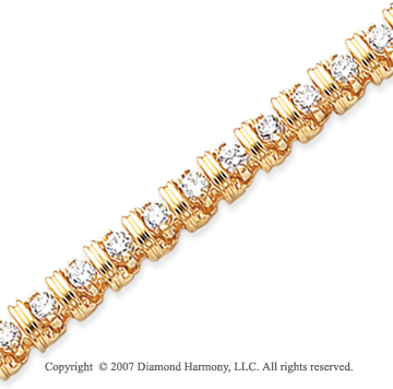 14k Yellow Gold Rounded 3.00 Carat Diamond Tennis Bracelet