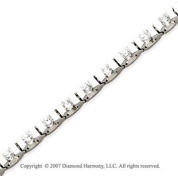 14k White Gold U Link 2.80 Carat Diamond Tennis Bracelet