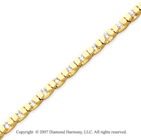 14k Yellow Gold U Link 2.00 Carat Diamond Tennis Bracelet
