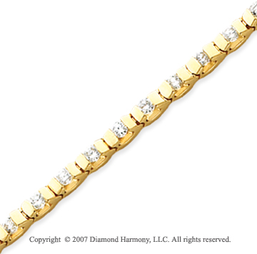 14k Yellow Gold U Link 2.80 Carat Diamond Tennis Bracelet