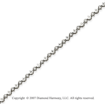 14k White Gold Scroll 1.35 Carat Diamond Tennis Bracelet
