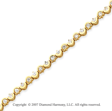 14k Yellow Gold Scroll 1.80 Carat Diamond Tennis Bracelet