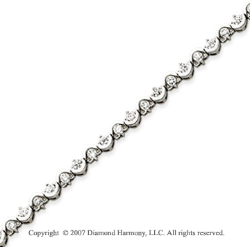 14k White Gold Scroll 1.80 Carat Diamond Tennis Bracelet
