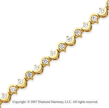 14k Yellow Gold Scroll 2.10 Carat Diamond Tennis Bracelet