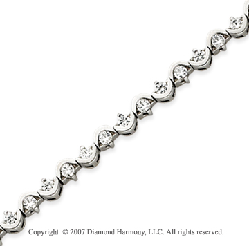 14k White Gold Scroll 2.10 Carat Diamond Tennis Bracelet