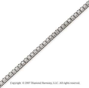14k White Gold Box 1.55 Carat Diamond Tennis Bracelet