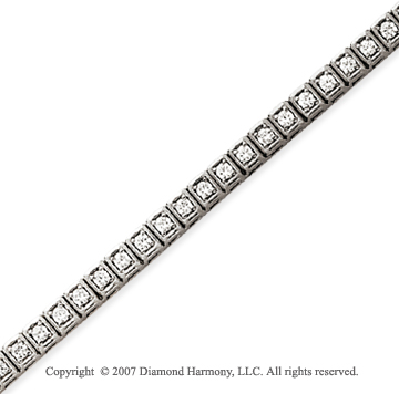 14k White Gold Box 2.10 Carat Diamond Tennis Bracelet