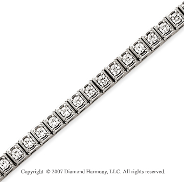 14k White Gold Box 2.45 Carat Diamond Tennis Bracelet