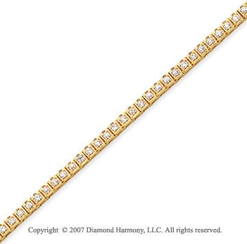 14k Yellow Gold Box 1.55 Carat Diamond Tennis Bracelet