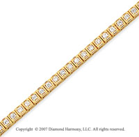 14k Yellow Gold Box 2.10 Carat Diamond Tennis Bracelet