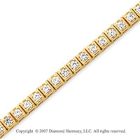14k Yellow Gold Box 2.45 Carat Diamond Tennis Bracelet