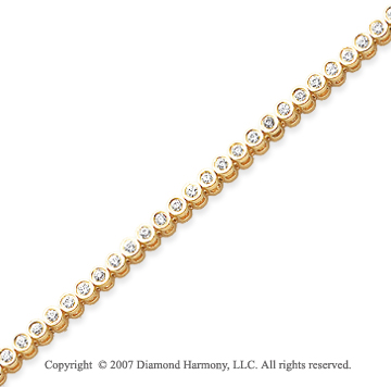 14k Yellow Gold Bezel 2.00 Carat Diamond Tennis Bracelet