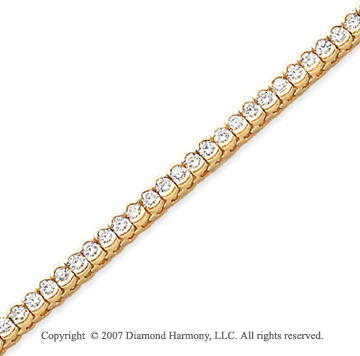 14k Yellow Goldold Open Bezel 3.55 Carat Diamond Tennis Bracelet