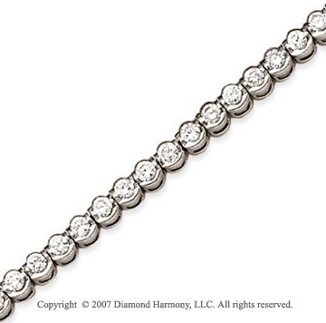 14k White Gold Open Bezel 3.95 Carat Diamond Tennis Bracelet