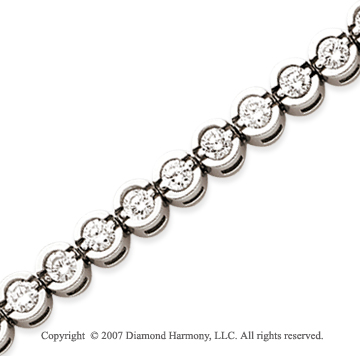 14k White Gold Open Bezel 4.95 Carat Diamond Tennis Bracelet