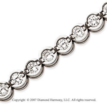 14k White Gold Open Bezel 7.30 Carat Diamond Tennis Bracelet