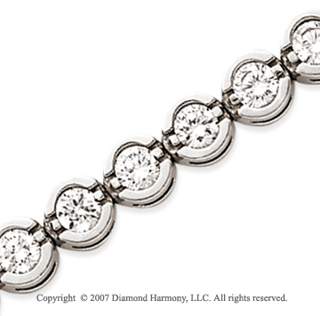 14k White Gold Open Bezel 9.90 Carat Diamond Tennis Bracelet
