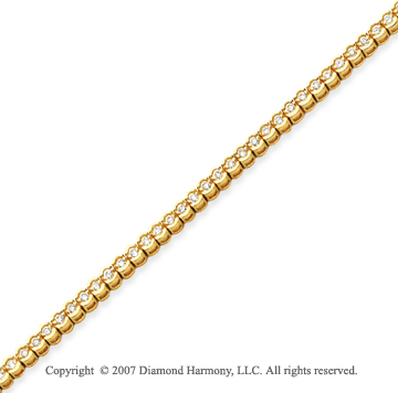 14k Yellow Goldold Open Bezel 2.00 Carat Diamond Tennis Bracelet