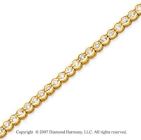 14k Yellow Goldold Open Bezel 2.95 Carat Diamond Tennis Bracelet