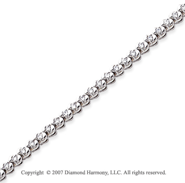 14k White Gold Ribbon 1.15 Carat Diamond Tennis Bracelet