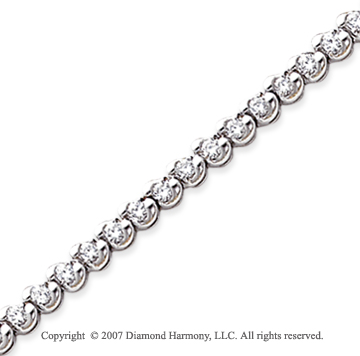 14k White Gold Ribbon 2.10 Carat Diamond Tennis Bracelet