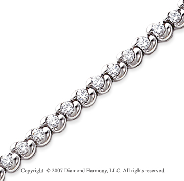 14k White Gold Ribbon 3.40 Carat Diamond Tennis Bracelet