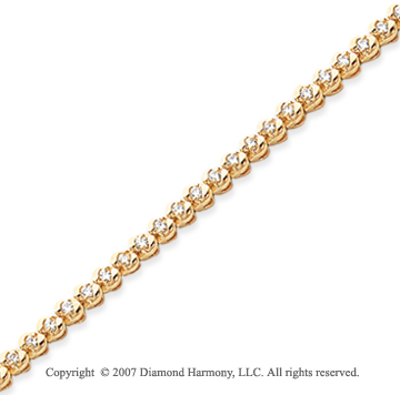 14k Yellow Gold Ribbon 1.15 Carat Diamond Tennis Bracelet