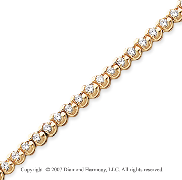 14k Yellow Gold Ribbon 2.10 Carat Diamond Tennis Bracelet