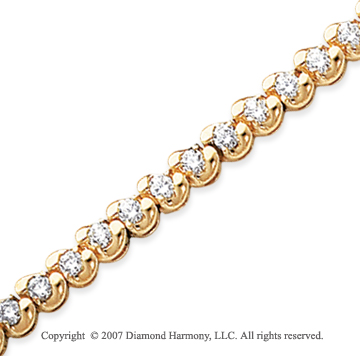 14k Yellow Gold Ribbon 3.40 Carat Diamond Tennis Bracelet