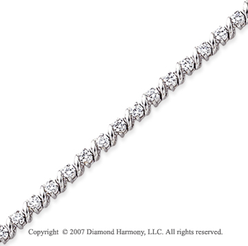 14k White Gold Swirl 2.00 Carat Diamond Tennis Bracelet
