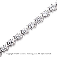 14k White Gold Swirl 5.30 Carat Diamond Tennis Bracelet