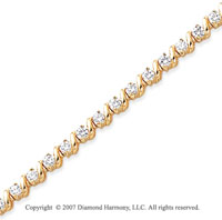 14k Yellow Gold Swirl 2.00 Carat Diamond Tennis Bracelet