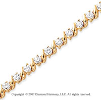 14k Yellow Gold Swirl 3 1/4 Carat Diamond Tennis Bracelet