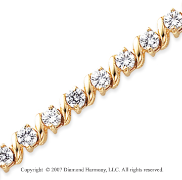 14k Yellow Gold Swirl 6.00 Carat Diamond Tennis Bracelet