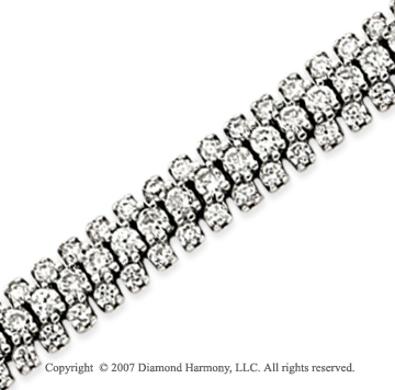 14k White Gold 3 Strand 6.90 Carat Diamond Fashion Bracelet