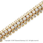 14k Yellow Gold 3 Strand 6.90 Carat Diamond Fashion Bracelet