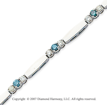 14k White Gold Prong 1.30 Carat Blue Diamond Bracelet