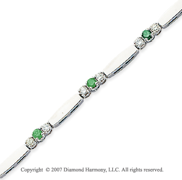14k White Gold Prong 1.30 Carat Green Diamond Bracelet