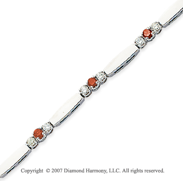 14k White Gold Prong 1.30 Carat Red Diamond Bracelet